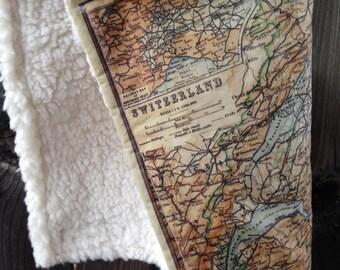 SWITZERLAND map blanket - Swiss map baby minky security blankie - small travel blanky, lovie, lovey, woobie - 12 by 16 inches