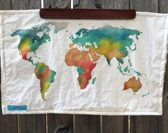 WORLD map blanket - map of the world baby minky security blankie - small travel blanky, lovie, lovey, woobie - 12 by 20 inches