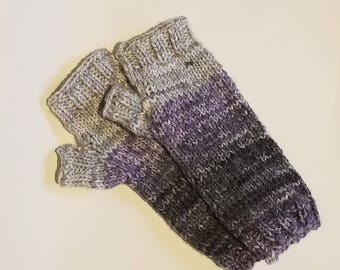 Fingerless Gloves/Mittens- Gray Purple Charcoal Ombre- Ready to ship- Hand Knit- One of a Kind
