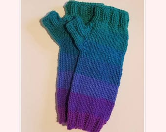 Fingerless Gloves/Mittens- Teal Blue Purple Pink Ombre- Ready to ship- Hand Knit- One of a Kind