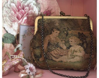 Vintage tapestry bag, coin purse, clutch