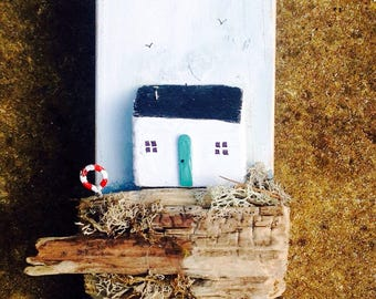 Rustic Driftwood Cottage Key Holder; driftwood houses; beach decor; wooden houses;