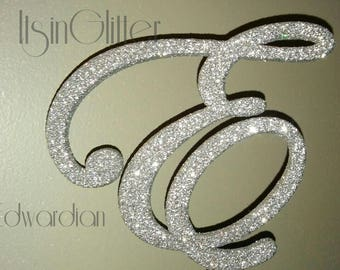 Custom Glittered monogram wedding cake topper letter, Bling letters