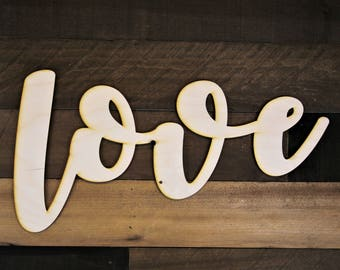Love Sign, love wood cutout, 3d love Sign, personalized script sign, Cursive Word, word cut out, custom word cutout, love script word