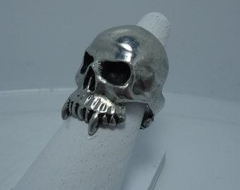 Silver Skull Ring - Black Metal Ring - Black Metal Jewelry - Gothic Ring - Vampire Ring - Viking Ring