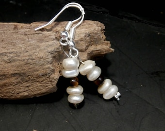 Freshwater Pearls and Tiger Eye Earrings, Small Dangle , Minimalist Silver Earrings, Minimal Jewelry, Gift for her, Bridal jewelry