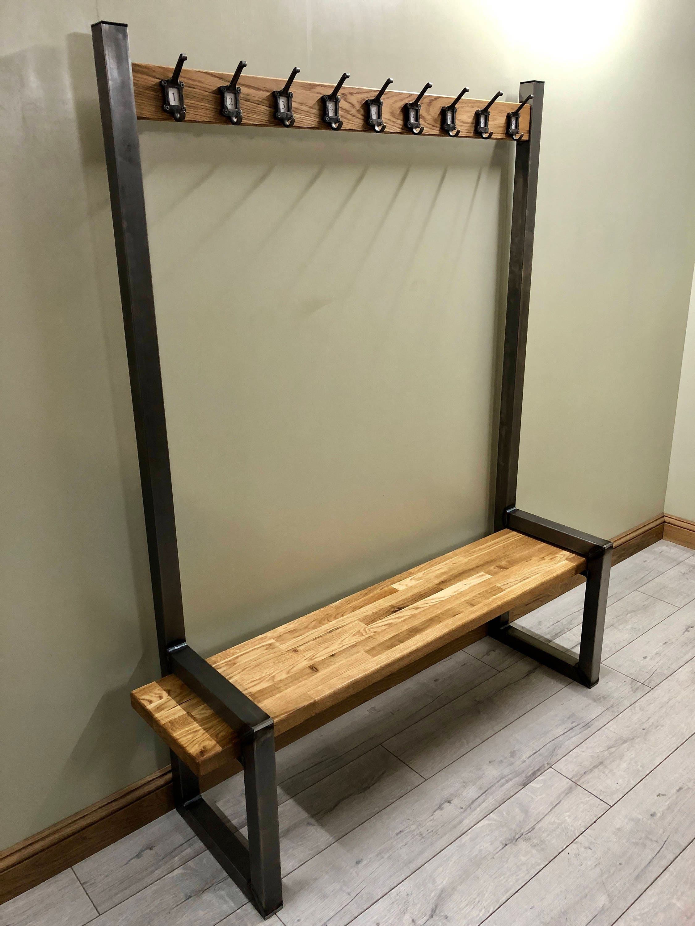 Industrial Hallway Steel Bench With Shoe Boot Storage