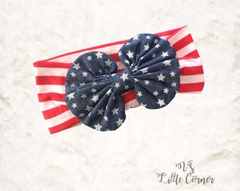 4th of July messy bow flag stars and stripes red white and blue headband baby girls toddler bow patriotic  fourth of july memorial day