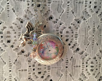 Pastel Unicorn Charm Locket Pendant/Unicorn Locket/Unicorn Pendant/Unicorn Necklace/Unicorn Jewelry