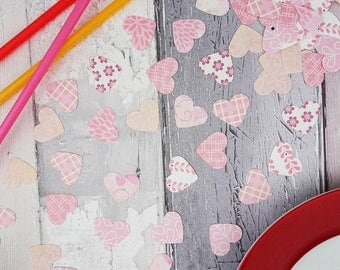 Pink patterned heart confetti, Choose your colours, Birthday party table sprinkles, Engagement party decorations, Bridal shower, Wedding