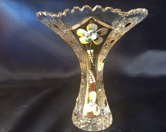Czech bohemia crystal glass - Cut vase 15cm decorated gold