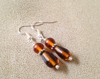 Amber colored glass beaded dangle earrings