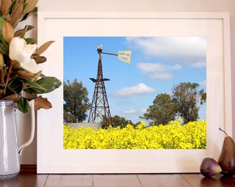 Country Windmill | Yellow Canola Field | Australian Nature Landscape Photography Print | Wall Art Decor | 5x7, 6x8, 8x12, 11x14, 12x16