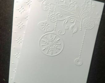 6 blank handmade embossed Christmas ornament note cards with embossed envelopes