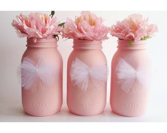 Pink Mason Jars, Pink Baby Shower Centerpieces