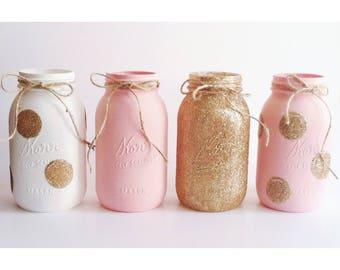 Pink and Gold Centerpieces, Pink Mason Jars, Gold Mason Jars