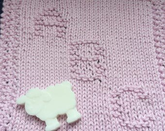 Hand knitted baby wash cloth 100%cotton baby gift baby shower gift.