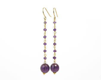 Fine gold, Silver earrings amethyst and Amethyst Quartz