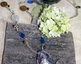 Blue Swirl Art Glass Pendant Necklace