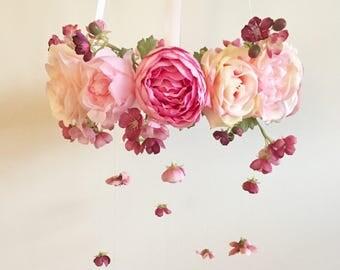 Flower Mobile, Nursery Mobile, Baby Girl Mobile, Floral Mobile, Pink Mobile, Nursery Mobile, apple blossom mobile