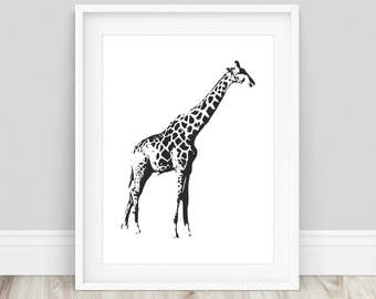 Giraffe Art Printable - Giraffe Printable, Giraffe Poster, Giraffe Wall Art, Safari Wall Art, Safari Nursery Art, Animal Prints
