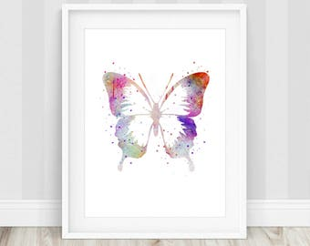 Butterfly Watercolor Art Print, Butterfly Wall Art, Butterfly Print, Butterfly Nursery, Gift for Her, Butterfly Printable, Animal Prints