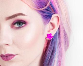 Cute Flower Button Earrings // Girly Flower Earrings // Handmade Stud Earring // Vegan Friendly // Custom Made Pretty Summer Style