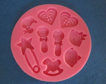 9 baby theme silicone mold patterns