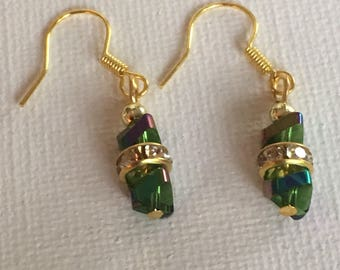 Green dangle earrings. Green drop earrings. Green BoHo earrings. Green and gold earrings.