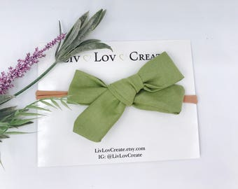 Baby Girl hand tied Bow - Nylon Headbands - Hair clip - Infant / Toddler /  Fabric Hair Bows / Clips - green slate