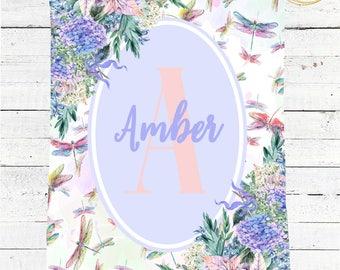 Dragonfly Baby Blanket / Monogram Baby Blanket Girl / Floral Baby Blanket / Watercolor Baby Blanket / Photo Prop Blanket Girl / Minky Gifts