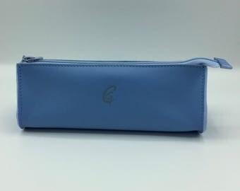Drop blue leather clutch