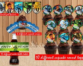 Lego ninjago cupcake toppers| Lego water bottle labels| Lego cupcake wraps| Lego Birthday Party Printable| children party| Lego banner