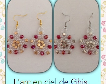 Flower silver plated or gold hearts earrings.