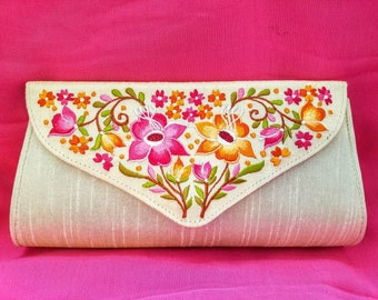 Embroidered clutch embroidered evening bag floral clutch floral evening bag envelope clutch India gifts for her quinceaneras gifts