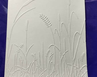 Cattails and fern embossed blank note card DIY card, ivory, 5 cards/ envelopes