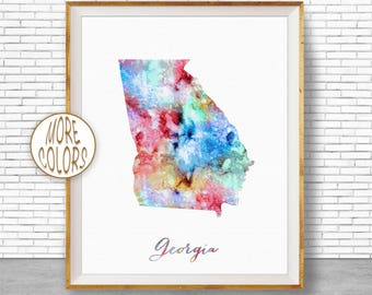 Georgia Print Georgia Art Print Georgia Decor Georgia Map Art Print Map Artwork Map Print Map Poster Watercolor Map ArtPrintZone