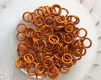 "18g 3/16 ""chainmaille jump rings, orange jump rings, DIY chainmaille, chainmaille supplies, matt orange rings, Tessa's chainmail"