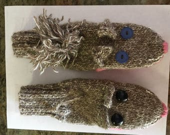 Cat and Mouse mittens - adult size