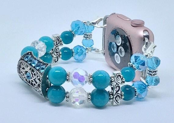 "Apple Watch Band, Women Bead Bracelet Watch Band, iWatch Strap, Apple Watch 38mm, Apple Watch 42mm, Turquoise Blue Sizes 7 3/4"" to 8"""