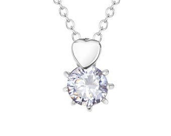 """White Solitaire Cubic Zirconia (CZ) Heart Pendant with Stainless Steel, 18"""" Chain Necklace"""