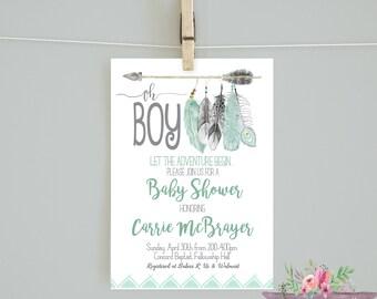 Adventure shower invitation/ Oh Boy Baby Shower Invitation / Adventure Begins Mint Tribal Invitation/ Oh Boy Invitation