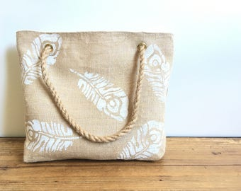 Feathers - burlap tote bag