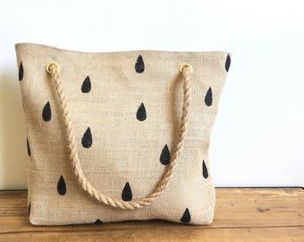 Drops - burlap tote bag
