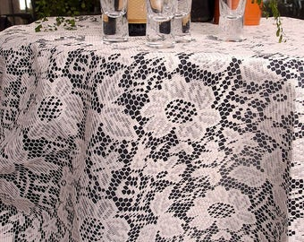 60 Inch Round Ivory Floral Lace Crochet Tablecloth Overlay Table Cover  Table Topper