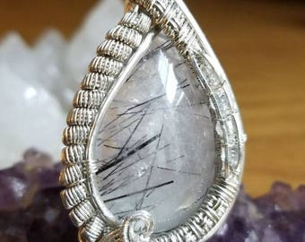Black Tourmaline Included Quartz Pendant, Herkimer Quartz Pendant, Wire Wrap Pendant, Handmade Pendant
