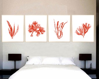 Seaweed art print Seaweed painting Seaweed poster Red Seaweed Set of 4 Seaweed Red art Nautical decor Seaweed decor Beach house decor