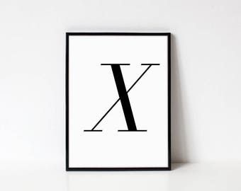 Scandinavian Printable Letter Print, Letter X, Black and White Typography Art