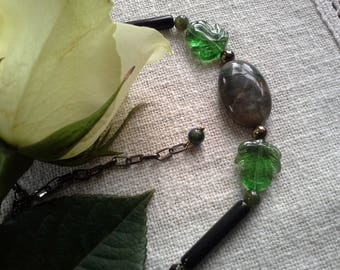 Natural jewelry green black jasper necklace onyx party necklace