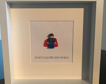 Spiderman 'Dad you're my hero' lego frame. Perfect present! Square frame measures 25x25cm